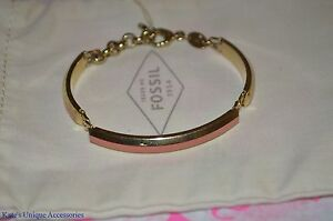 Fossil Stainless Steel Three Piece Pink Goldtone Link Bracelet Bangle XMAS GIFT