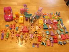 HUGE LOT 20 POLLY POCKET DOLLS CLOTHES CAR FURNITURE ACCESSORIES