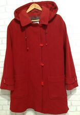 Ladies HUCKE Red Wool/Cashmere Oversized Duffle Coat ,Size 16/18