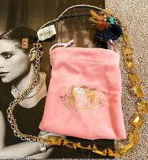$88 Brand New Juicy Couture Large Multi-Chain & Amber Necklace + Pouch