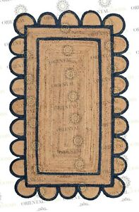Scallop Jute Navy Hand Made Rug,Bohemian Decor Inspire, Customize in Any Size