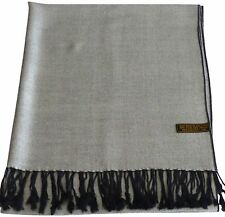 CJ Apparel Silver Grey & Black Solid Colour Design Shawl Pashmina Seconds *NEW*