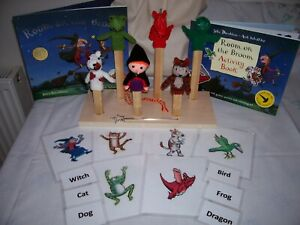 """FOR PRADO8888 ONLY"" Hand Knitted Finger Puppets Room on the  Broom Story Sack"