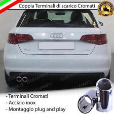 COPPIA TERMINALE SCARICO CROMATO LUCIDO ACCAIO INOX AUDI A3 8V SPORTBACK