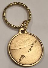 Foot Prints In The Sand Bronze Keychain Footprints Key Chain Tag Medallion Coin