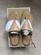 £120 MICHAEL KORS Designer Enid Thong Soft Neutral Diamante Sandals UK 5.5, US8