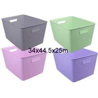 1x Multi-Purpose Plastic Woven Storage Basket Home Office Storage Organize Large