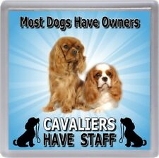 "Cavalier King Charles Spaniel Dog Coaster  ""Cavaliers Have Staff"" by Starprint"