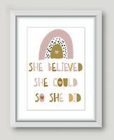 Kids Children's Girls Bedroom Prints Wall Art Quotes Decor Scandi Rainbow  A4