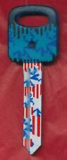 H-67 CAR KEY BLANK STARS AND STRIPES PRINT PLASTIC TOP