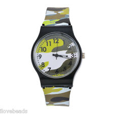 Fashion Kids Boys Girls Camouflage Plastic Camo Army Sport Quartz Wrist Watches