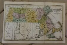 "1839 Detailed Hand Colored 8x12 1/2"" Map of Massachusetts"
