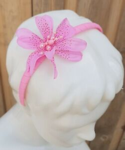 New Claire's Club Girls Hair Accessorie Plastic HeadBand Light Pink Lily Flower