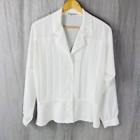 *VINTAGE* MURIEL CÉALAC White Button Up SIZE 12 UK Long Sleeve Peplum Blouse V1