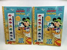VTG Golden Books Mickey Mouse & Friends A Day at the Beach Paint Box Books 2 NEW