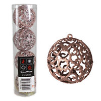4 Pack Rose Gold Glitter Filigree Bauble 6cm Christmas Hanging Decorations