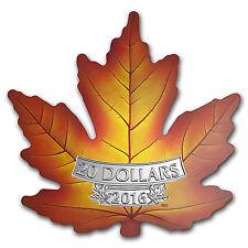 2016 Canada 1 oz Silver $20 Prf Maple Leaf Shape Coin (Colorized) - SKU #98826