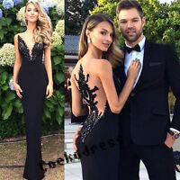 Elegant Mermaid Long Prom Dresses Black Split Lace Evening Party Formal Gowns