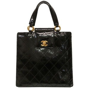 Auth CHANEL Quilted Matelasse Hand Bag Patent Leather Black color U0802GIG5