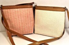 Fossil Small Cross Body Fabric Shoulder Bags Ivory/Pink/Green Lot Of Two