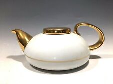 Unique! Mlesna Porcelain Teapot White/Gold Trim Made in Sri Lanka