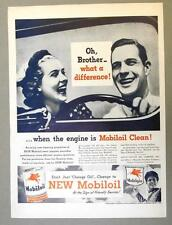 10 X 14 Original 1946 Mobil Ad OH BROTHER WHAT A DIFFERENNCE...MOBILOIL CLEAN