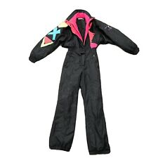 Black OBERMEYER Womens Size 6 One Piece snow SKI SUIT vtg retro Snowsuit Neon