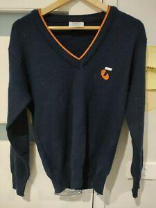 Vintage TELSTRA Yakka mens size 18 jumper blue knit wool blend staff uniform