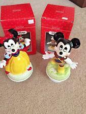 Disney'S Mickey & Minnie Schmid Snow White & Prince Charming Music Boxes, Rare!
