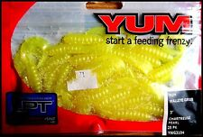"""YUM WALLEYE GRUB 3"""" (7,5 cm) CHARTREUSE PEARL color - packet of 25 pcs!!"""