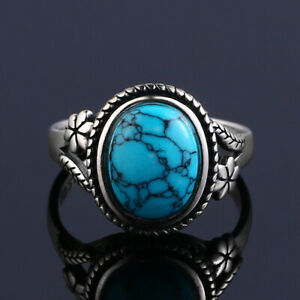 Vintage 925 Silver Oval Green Turquoise Bead Simple Design Flower Ring Wholesale