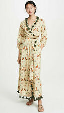 RHODE RESORT Lena Leopard-Motif Wrap Maxi Dress Fringed Beach Boho M NWT 202736