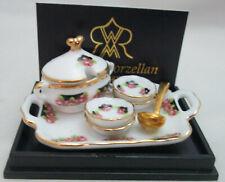 Dollhouse Miniature Reutter Porcelain Rose Soup Tureen, 4 Bowls, Tray & ladle