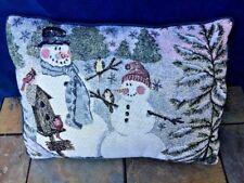 Home Decor Throw Decorative Pillow Tapestry Snowman Cardinal Chickadee 12/17 ��