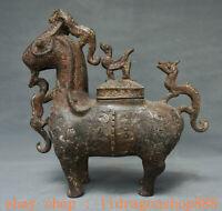 """9,6 """"Antique China Bronze Ware Mouton Bête Zun Oiseaux Couvercles Navire à boire"""