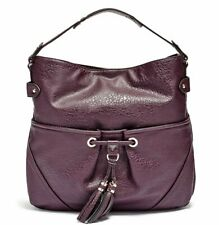 GUESS Women's Molly Tassel Large Purple Hobo Travel Shopper Bag Handbag Purse