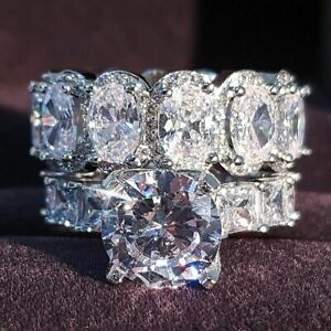 Luxury Real 925 Sterling Silver Oval Princess Cut Wedding Ring Set Engagement