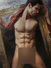 "24""x32"" Art prints from oil painting male nude portrait men 200 photos listed"