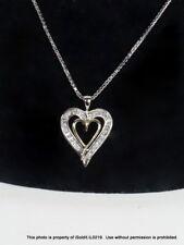 "24"" 14K WHITE GOLD Chain NECKLACE W/ DIAMOND DOUBLE HEART PENDANT Yellow"