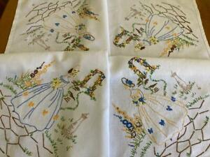 Beautiful Linen Crinoline Lady Hand Embroidered Vintage Tablecloth