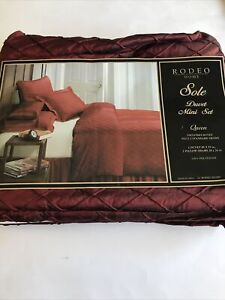 Rodeo Home Queen Duvet Cover Set SOLE Burgundy Red Lattice w 2 Shams NEW Solid