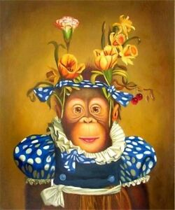 ZOPT226 charmed abstract monkey 100/% handpainted  art OIL PAINTING ON CANVAS