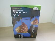 New Solar Powered Windchime Ceramic Hen Light - 6C