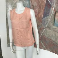 Anne Larson 100% Silk Pink Paisley Blouse Sleeveless Top R SZ Small