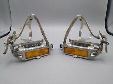 Vintage Sakae SR SP-154 Silver Bike Pedals Pair Aluminum Christophe Toe Clips