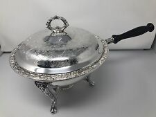 Antique WM Rogers Silver Plate Chafing Dish / Pan Victorian Rose Complete Set