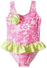 Flap Happy Little Girls UPF 50+ Serena Contrast Swimsuit, Hula Hibiscus, 3
