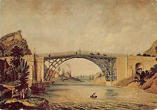 B102211 the iron  bridge painting postcard museum   uk