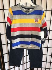 Quad Seven Size 3T Boy's Toddler Long Sleeve Striped Polo & Denim Jeans Set NWT