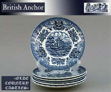 "Eine Untertasse 14,5 British Anchor ""Olde Country Castles"" England Hostess  blau"